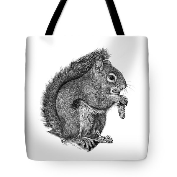Tote Bag featuring the drawing 058 Sweeney The Squirrel by Abbey Noelle
