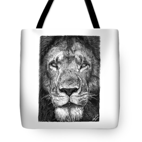 Tote Bag featuring the drawing 059 - Lorien The Lion by Abbey Noelle