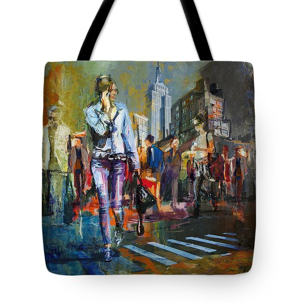 066 Ny Manhattan Street View New York Tote Bag