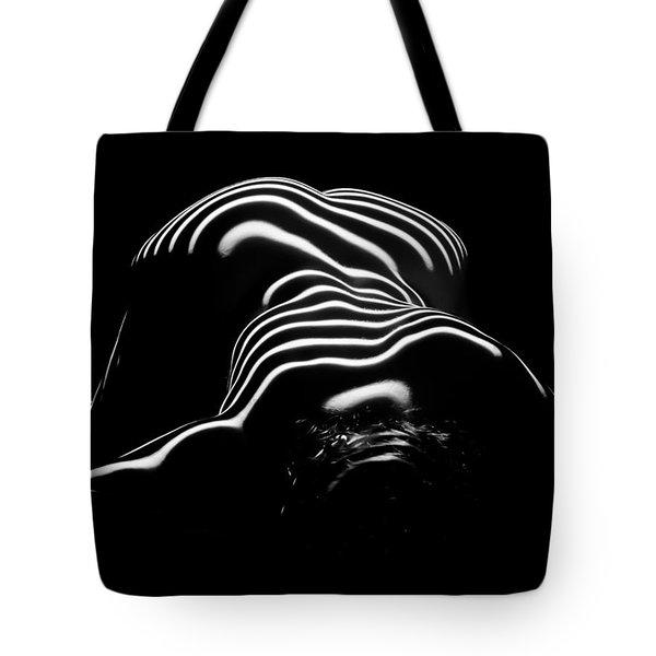 0686-ar Head Down Bottom Up Zebra Striped Female Figure Tote Bag
