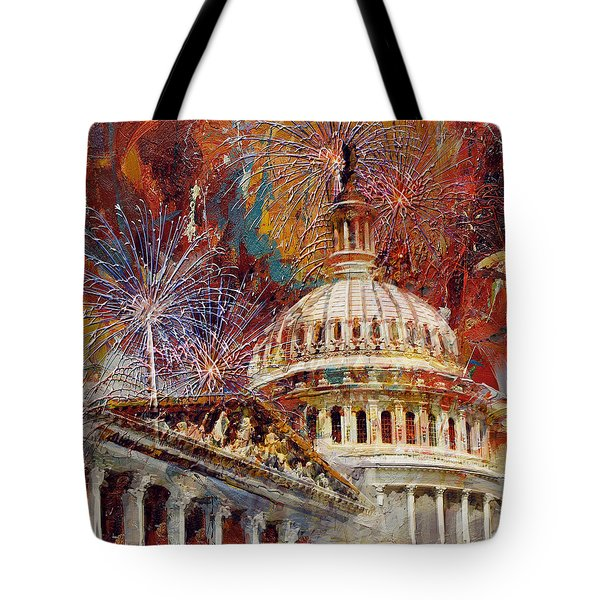 070 United States Capitol Building - Us Independence Day Celebration Fireworks Tote Bag