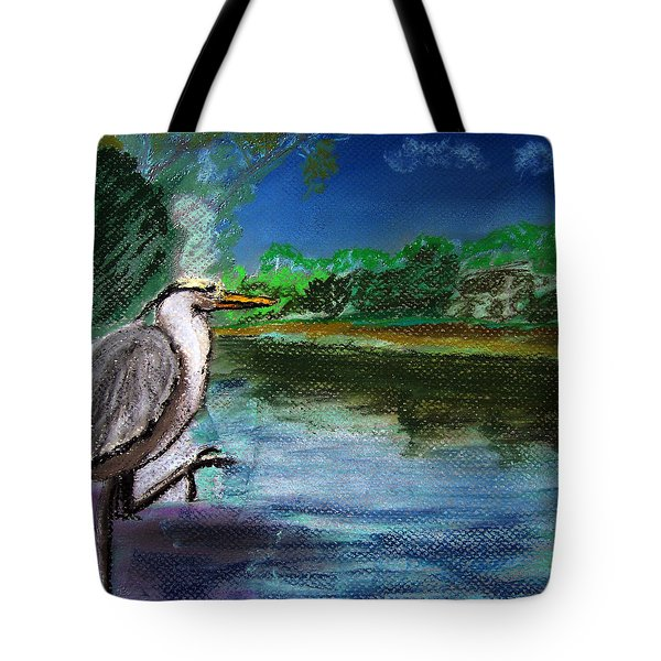 071115 Blue Heron Pastel Sketch Tote Bag