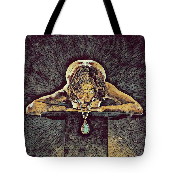 0756s-zac Nude Woman With Amulet On Tall Pedestal  Tote Bag