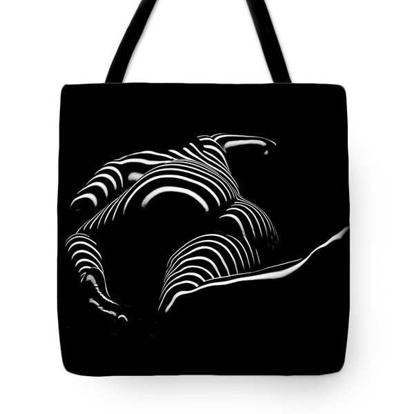 0758-ar Rear View Bbw Zebra Woman Large Full Figured Powerful Female Black And White Abstract Maher Tote Bag