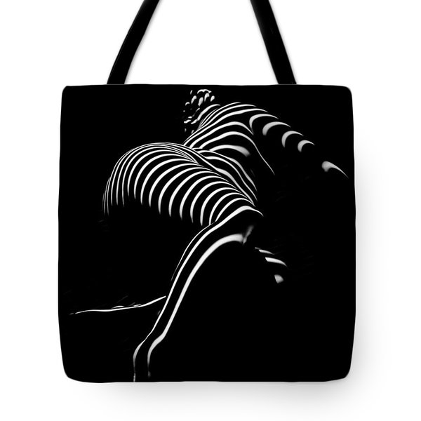0773-ar Striped Zebra Woman Side View Abstract Black And White Photograph By Chris Maher Tote Bag
