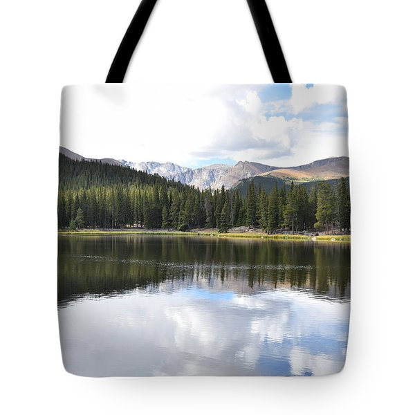 Tote Bag featuring the photograph Echo Lake Reflection Mnt Evans Co by Margarethe Binkley