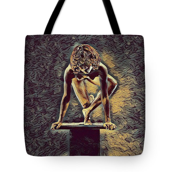 0948s-zak Dancer Balanced On Pedestal In The Style Of Antonio Bravo  Tote Bag