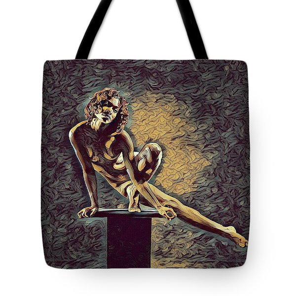 0953s-zac Casual Balance Black Dancer Graceful Strong In The Style Of Antonio Bravo Tote Bag by Chris Maher
