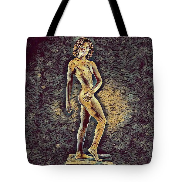 0957s-zac Fit Black Dancer Standing On Platform Tote Bag