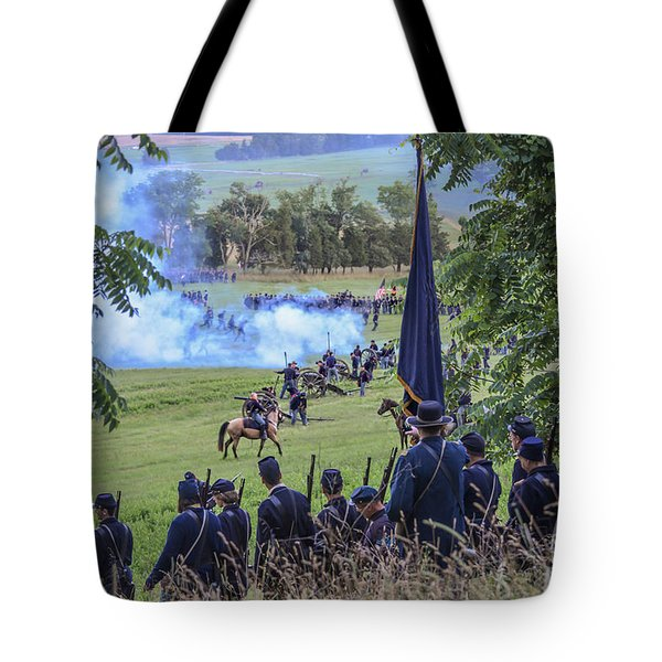 Gettysburg Union Artillery And Infantry 7457c Tote Bag