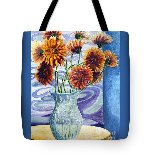 01305 Orange African Daisies Tote Bag by AnneKarin Glass