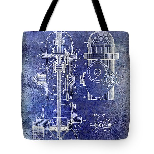 1903 Fire Hydrant Patent Blue Tote Bag