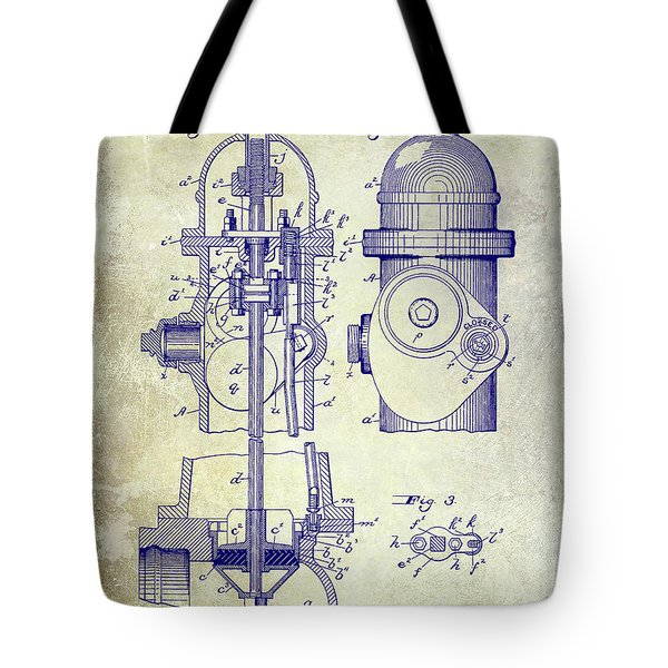 1903 Fire Hydrant Patent Tote Bag