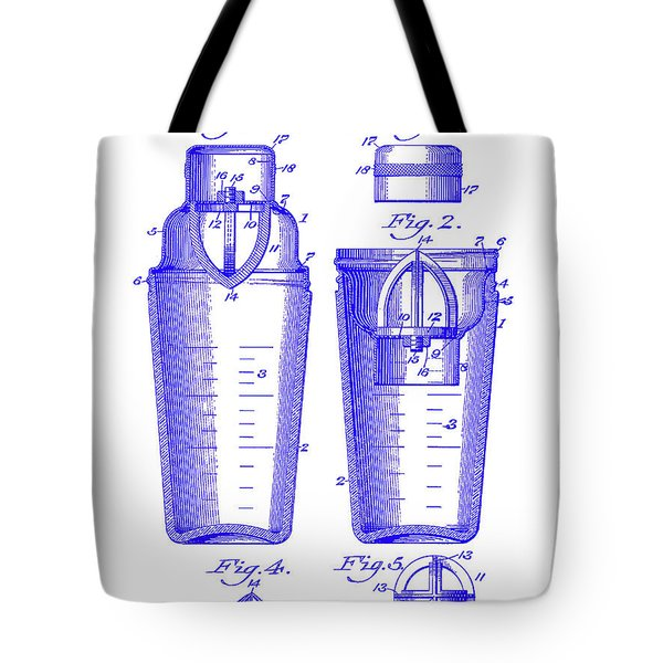 1913 Cocktail Shaker Patent Blueprint Tote Bag
