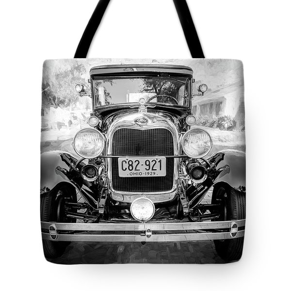 Tote Bag featuring the photograph 1929 Ford Model A Tudor Police Sedan Bw by Rich Franco