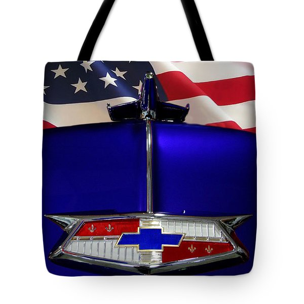 1954 Chevrolet Hood Emblem Tote Bag by Peter Piatt