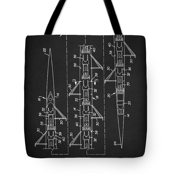 Tote Bag featuring the digital art 8 Man Rowing Shell Patent by Taylan Apukovska