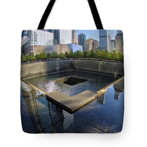 Tote Bag featuring the photograph 9/11 Memorial by Mitch Cat