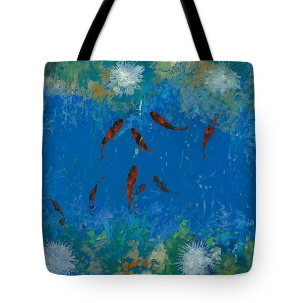 Tote Bag featuring the painting 9 Pesciolini Rossi by Guido Borelli