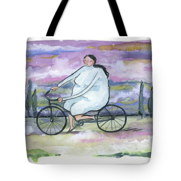 Tote Bag featuring the painting A Beautiful Day For A Ride by Leanne WILKES