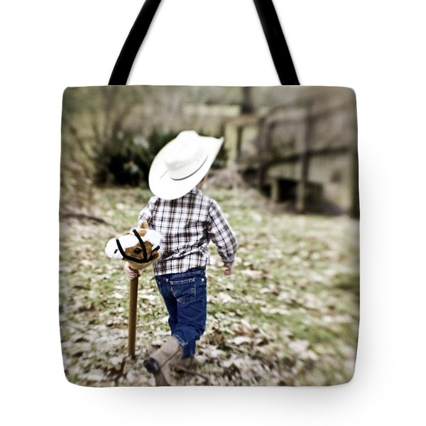 A Boy And His Horse Tote Bag by Scott Pellegrin