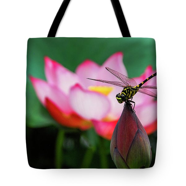 A Dragonfly On Lotus Flower Tote Bag