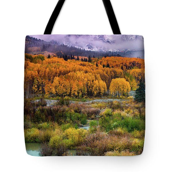 A Fall Snow At Sunrise Tote Bag
