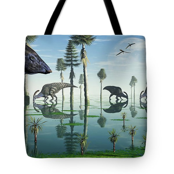 A Group Of Parasaurolophus Duckbill Tote Bag