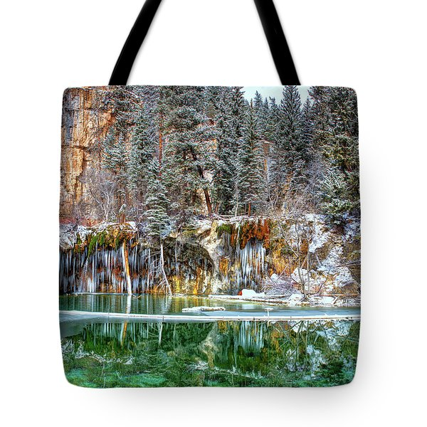 Olena Art Serene Chill Hanging Lake Photograph The Gem Of Glenwood Canyon Colorado Tote Bag