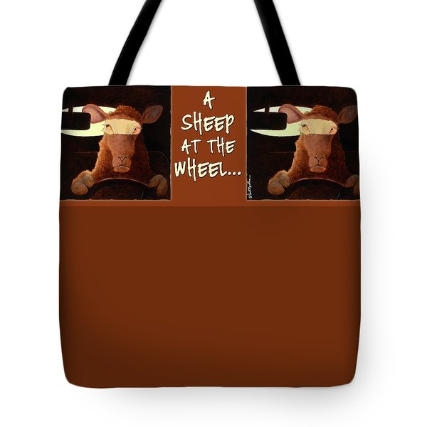 Tote Bag featuring the painting A Sheep At The Wheel... by Will Bullas