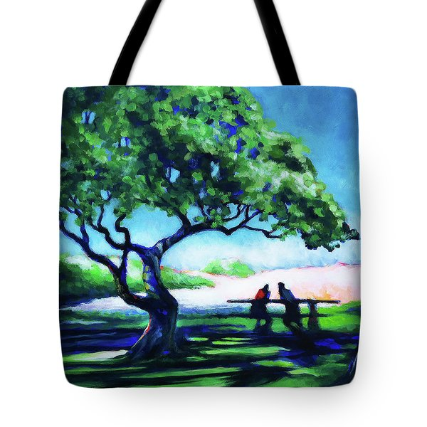 Tote Bag featuring the painting A Spot Of Sun by Angela Treat Lyon