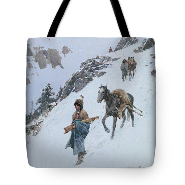 Tote Bag featuring the drawing A Successful Hunt by Henry Francois Farny