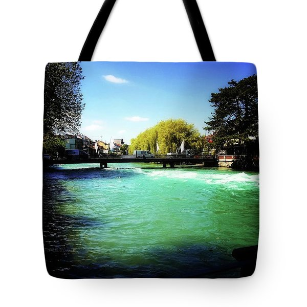 Tote Bag featuring the photograph Aare River by Mimulux patricia no No