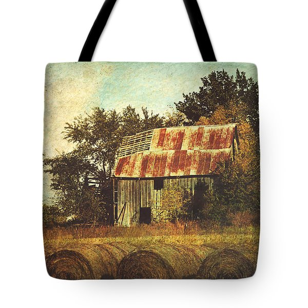 Abandoned Countryside Barn And Hay Rolls Tote Bag