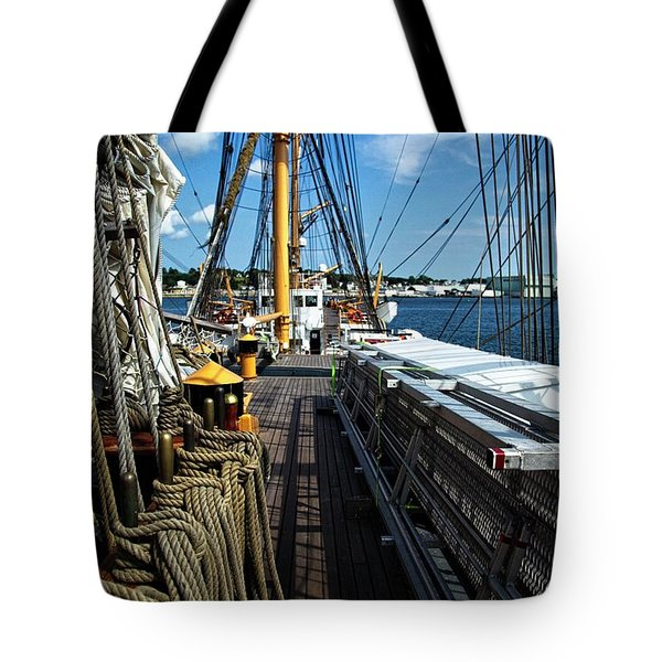 Tote Bag featuring the photograph Aboard The Eagle by Karol Livote