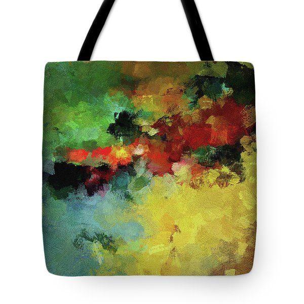 Tote Bag featuring the painting Abstract And Minimalist  Landscape Painting by Ayse Deniz