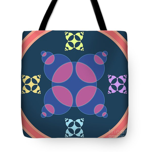 Abstract Mandala Pink, Dark Blue And Cyan Pattern For Home Decoration Tote Bag
