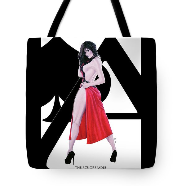 Tote Bag featuring the digital art Ace Of Spades by Joseph Ogle
