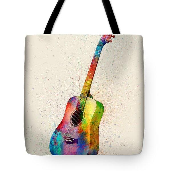 Acoustic Guitar Abstract Watercolor Tote Bag