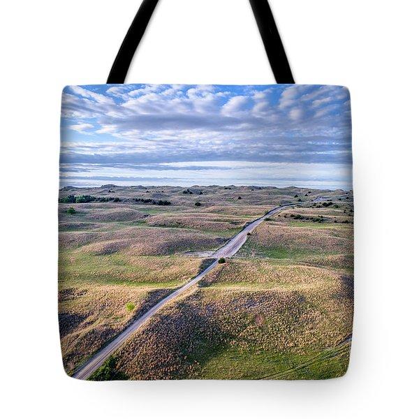 aerial view of Nebraska Sandhills  Tote Bag