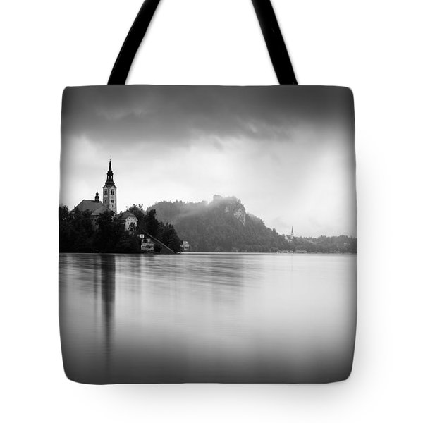 Tote Bag featuring the photograph After The Rain At Lake Bled by Ian Middleton