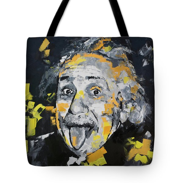 Tote Bag featuring the painting Albert Einstein by Richard Day