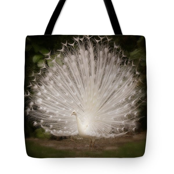 Albino Peacock  Tote Bag