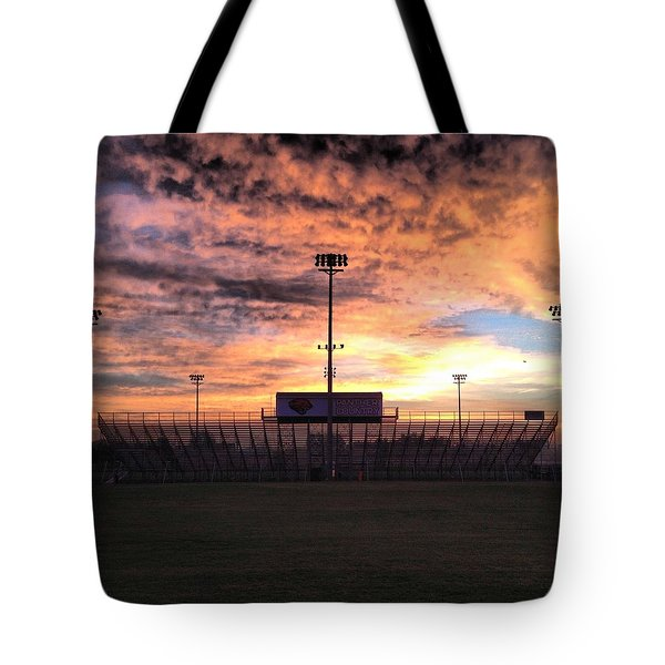 Alma High School Don Miller Field Sunrise Bleachers Tote Bag