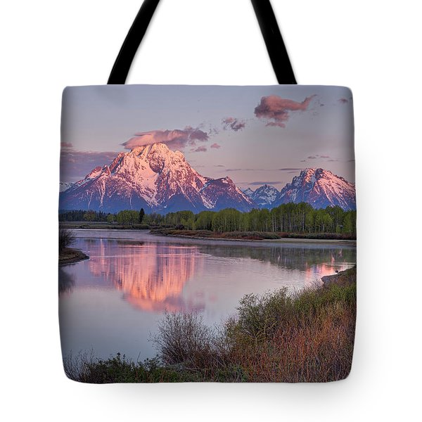 Tote Bag featuring the photograph Alpenglow At Oxbow Bend by Joe Paul