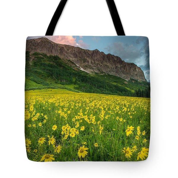 Alpine Sunflowers Arise Below Gothic Mountain At Dawn Tote Bag