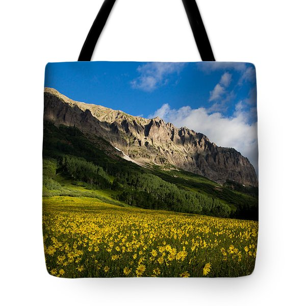 Alpine Sunflowers Basking In The Glow Of Gothic Mountain Tote Bag