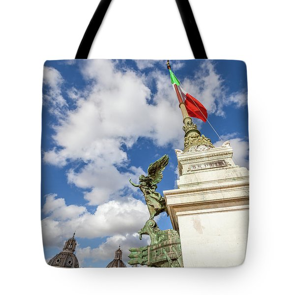 Tote Bag featuring the photograph Altare Della Patria Roma by Benny Marty
