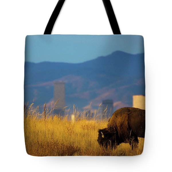American Bison And Denver Skyline Tote Bag