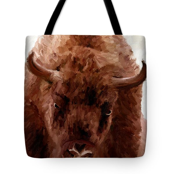 Tote Bag featuring the painting American Bison by James Shepherd